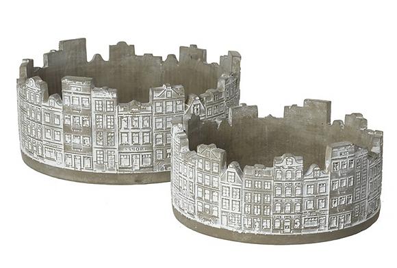 Set Of 2 Round Building Pots