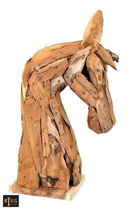 Large Teak Branch Horses Head