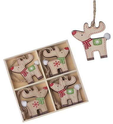 Set Of Wooden Hanging Reindeer
