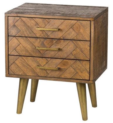 Havana Gold 3 Drawer Bedside Table