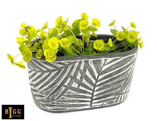 Palm Oval Concrete Planter