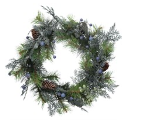 51cm Mixed Fir Blueberry Wreath
