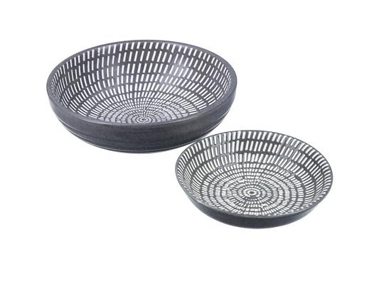 Set Of 2 Dark Grey Ceramic Dishes Largest 12.5cm
