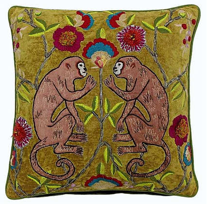 45cm Bali Embroidered Olive Cushion