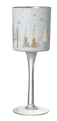 White & Gold Glass Stemmed Tea Light Holder