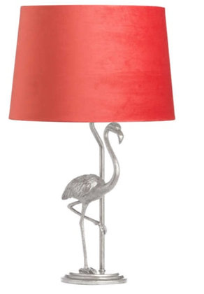 Antique Silver Flamingo Lamp With Coral Velvet Shade
