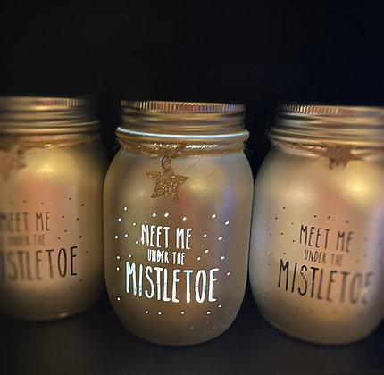 Light Up Meet Me Under The Mistletoe Jar