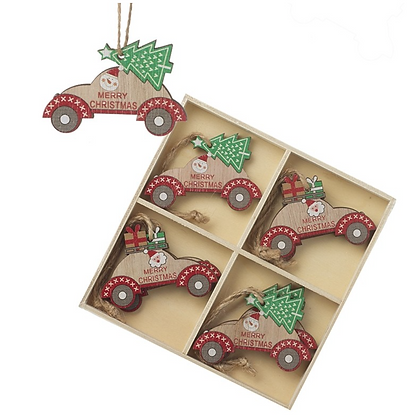 Set Of 8 Hanging Wooden Cars