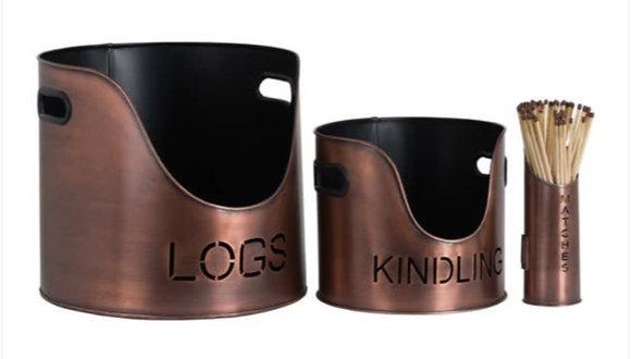 Log's & Kindling Buckets + Matchstick Holder Copper Finish