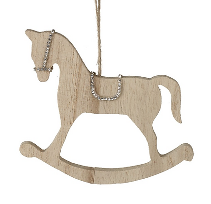 Wooden Hanging Rocking Horse With Glitter Edge