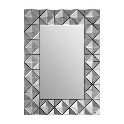 Smoked Silver 3D Geometric Wall Mirror 105cm