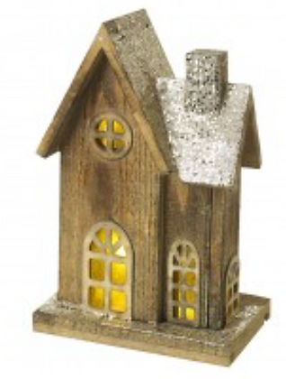 Small Wooden Lit Glitter House