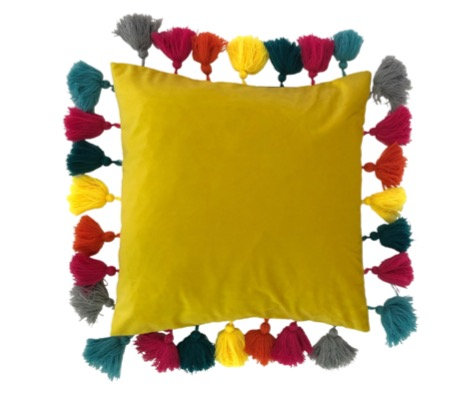 45cm Yellow Tassel Cushion