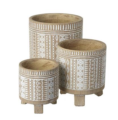 Set Of 3 Ceramic Patterned Pots