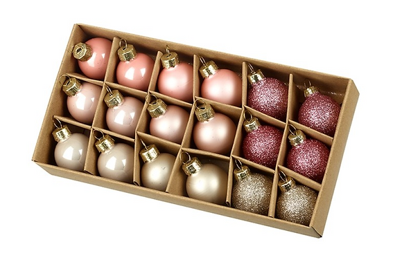 Set Of 18 Glass Pink Baubles