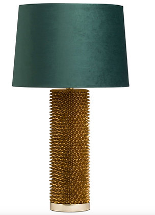 Acantho Antique Gold Lamp Velvet Emerald Shade