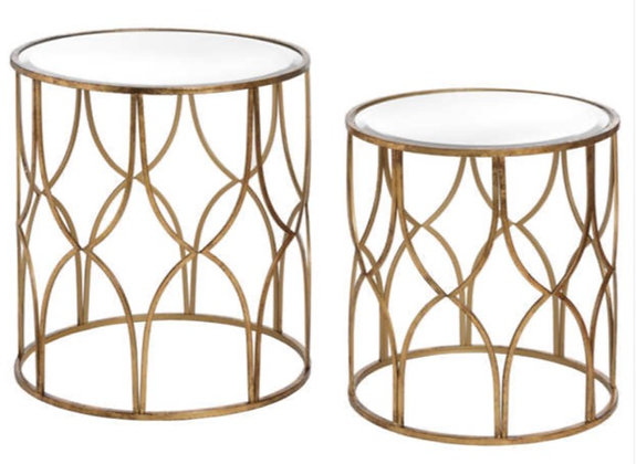 Set Of Two Lattice Detail Side Tables