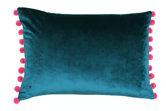35x60cm Fiesta Teal / Berry Cushion Filled