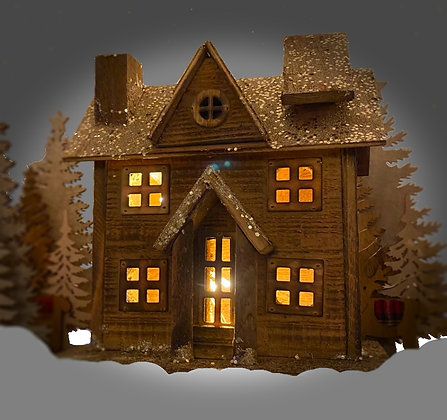 Large Wooden Lit Glitter House