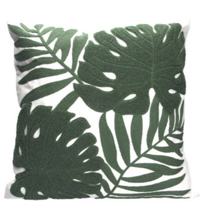 Dark Green Leaves Crewel Work Cushion
