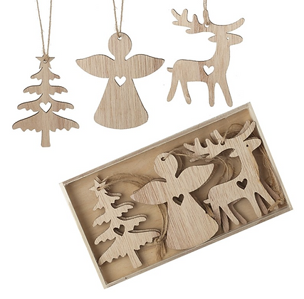 Wooden Hanging Tree / Angel / Deer Set