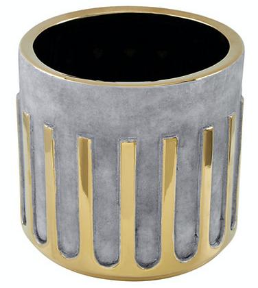 Large Grey Gold Ceramic Planter