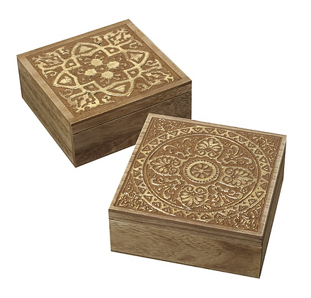 Set Of 2 Gold Wooden Square Boxes