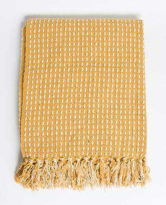 Mustard Woven Stitch Throw