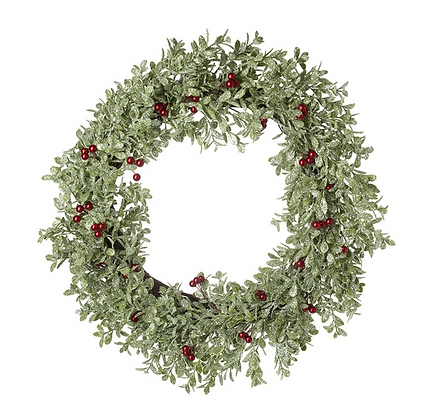 Wreath With Green Foliage & Red Berries