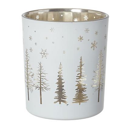 Small White & Gold Glass Tea Light Holder