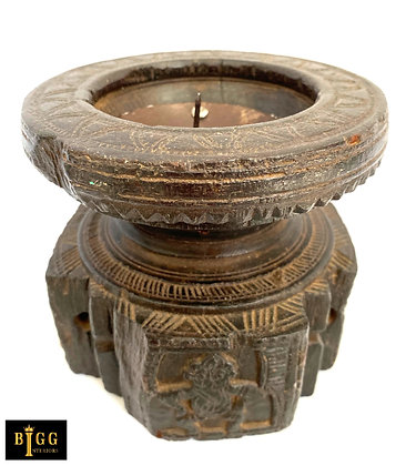 Carved Wooden Candle Stand