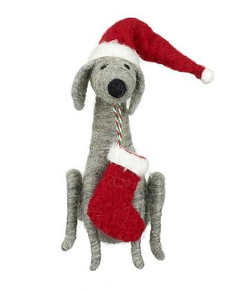 Felt Dog With Hat & Stocking