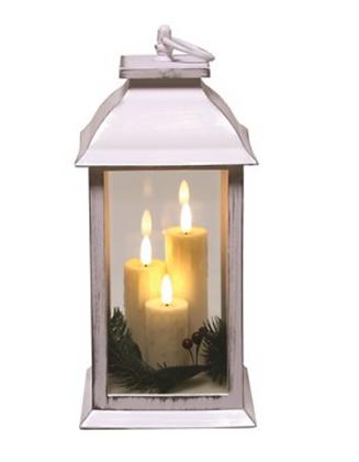 30cm 3 Candle White Lantern
