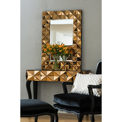 Smoked Copper 3D Wall Mirror 105cm