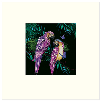 30X30 cm 'Parrots' Print With Mount