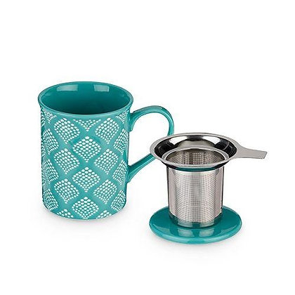 ANNETTE™ BALI TURQUOISE CERAMIC TEA MUG & INFUSER BY PINKY UP