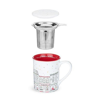 ANNETTE™ STREET RED CERAMIC TEA MUG & INFUSER BY PINKY UP®