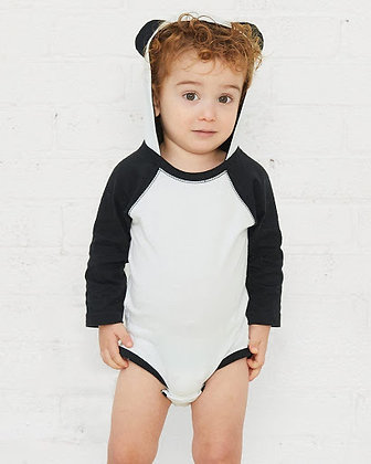 Rabbit Skins - Fine Jersey Infant Character Hooded Long Sleeve Bodysuit w/Ears