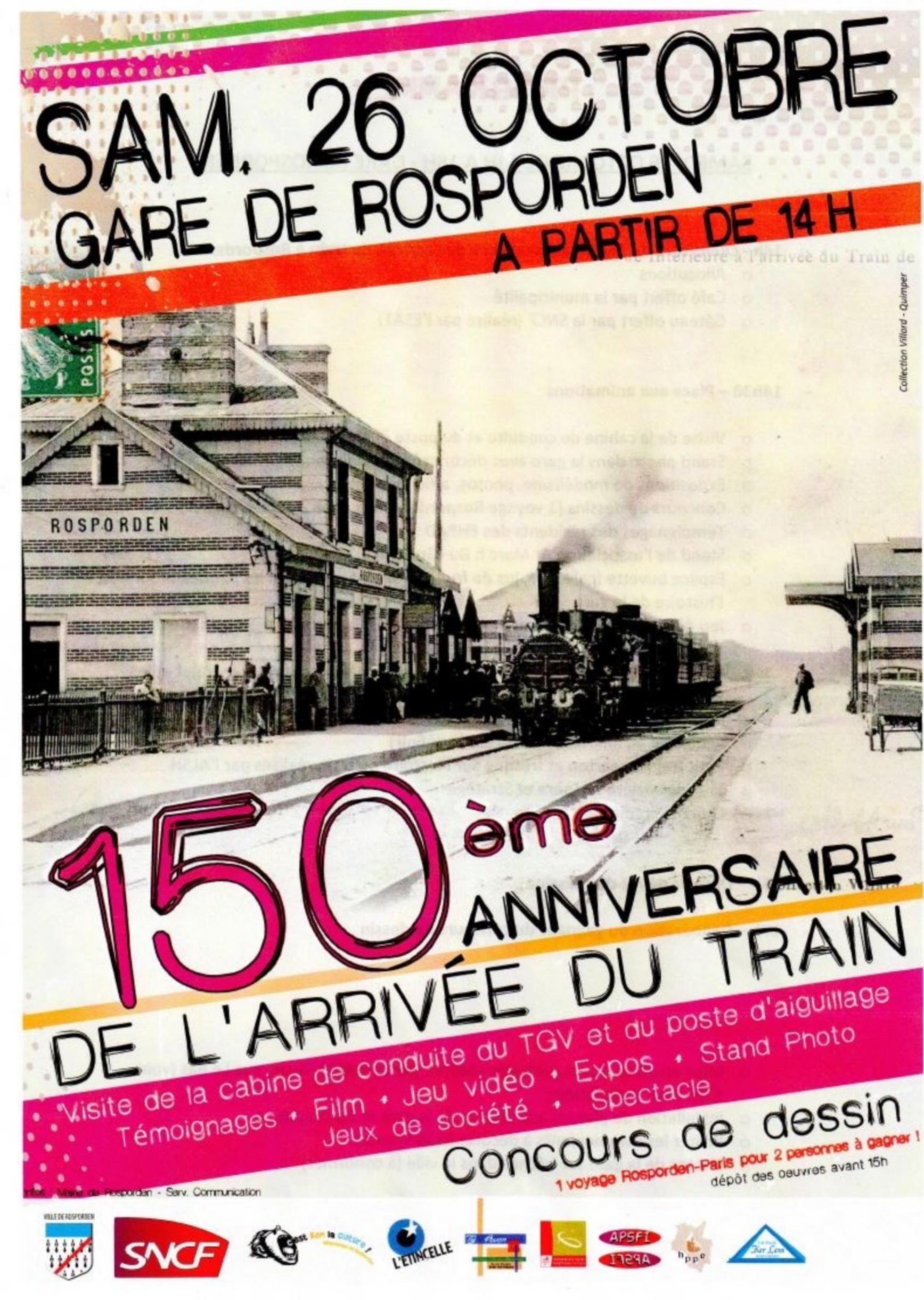 Rosporden 150 ans Arrivée du train