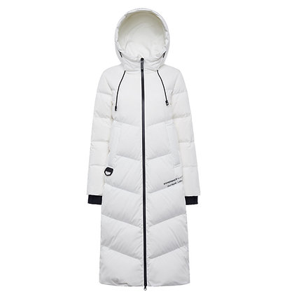 Women's Long Quilted Down Winter Coat with Hood
