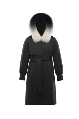 Women's Hooded Trench Coat with Fur Trim
