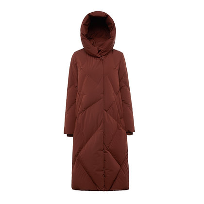Women's Long Quilted Goose Down Jacket with Hood