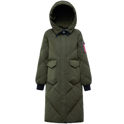 Women's Hooded Longline Down Winter Jacket