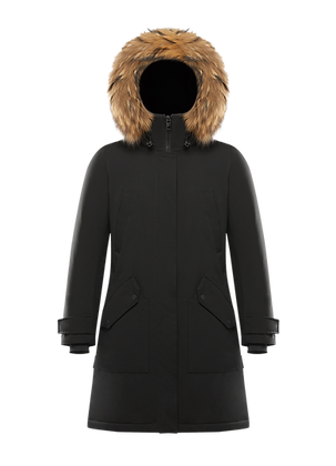 Women's Hooded Long Parka with Fur Trim