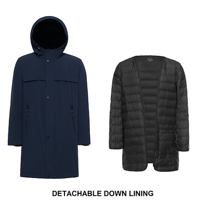 Men's 2 in 1 Parka Style Down Jacket with Hood