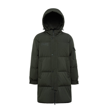 Men's Long Hooded Down Jacket