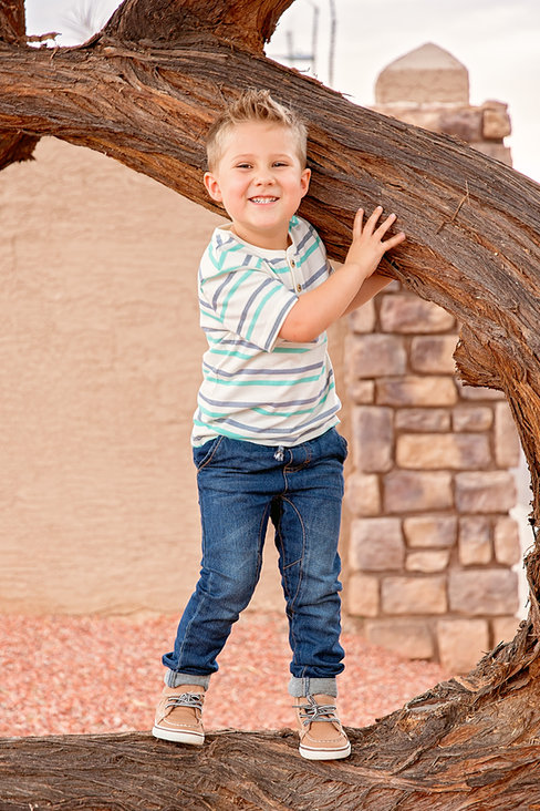 boy in striped shirt climbing tree