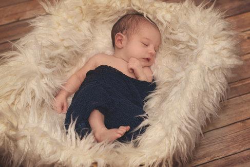 newborn bundle in fur