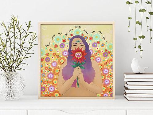 'Speak Words of Beauty' Art Print by Crystal Domi