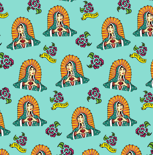 Shop Mi Vida Virgin Pattern Design created using original artwork by Dominic Ochoa, 2017